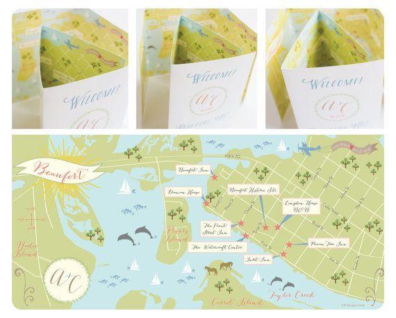 Custom Wedding Map with Itinerary Wedding Map by cwdesigns2010
