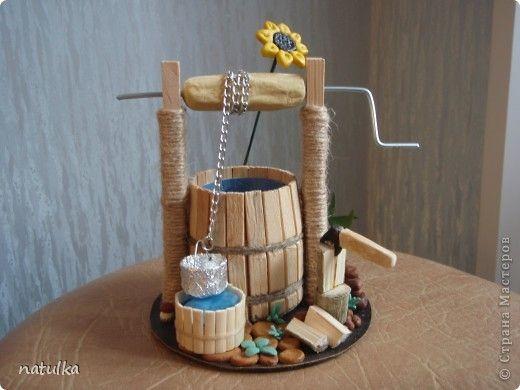 Макет модель Поделка изделие колодец Клей Кожа Материал природный Тесто соленое фото 1