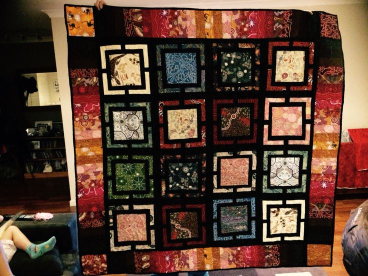 The Quilt I made for mum and Dad with Indigenous prints.