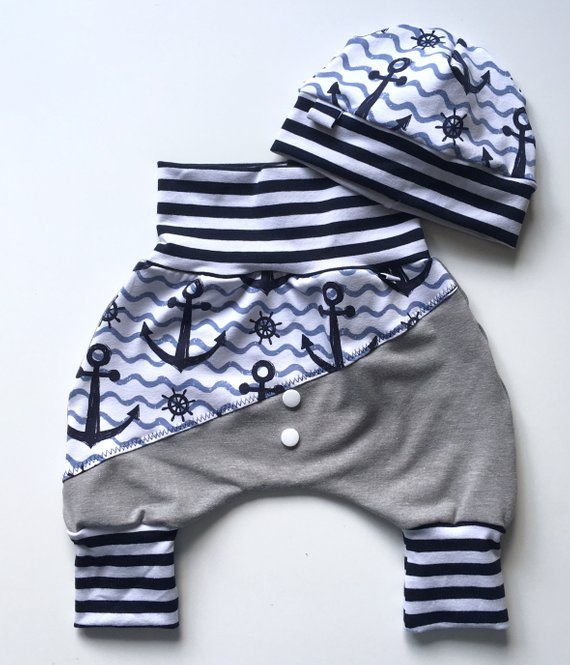 Baby set 3-piece Maritim pumphose and cap sailboats mint/grey