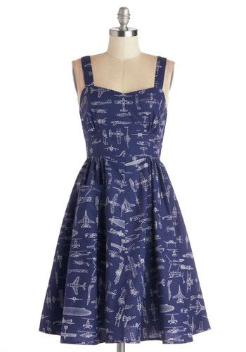 1950s Retro Plus Size Dresses: Cocktail, Pinup, Swing Dresses - On a Barrel Roll Dress in Navy $79.99 #1950sfashion #plussize #vintagestyle