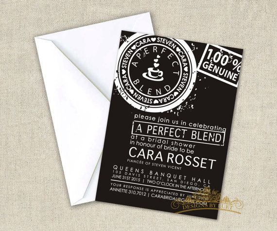 Coffee Bridal Shower Invitation - Perfect Blend Bridal Shower Invite - Wedding Shower Invitation Invitation Cards with Free Envelopes
