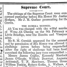 GOFFIN, Robert. Juror for trial of Ah You for willful murder. Mount Alexander Mail, 15 Mar 1907, p. 2, 'Supreme Court'.