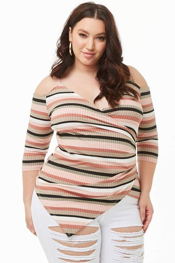 cd38a85ab5c Forever 21 Plus Size Asymmetrical Open-Shoulder Striped Top