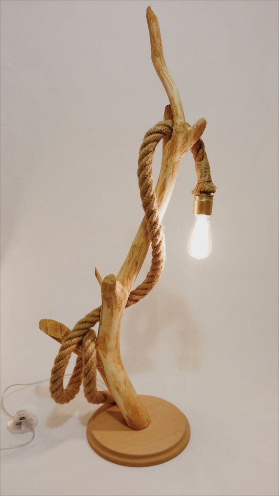 Wood lamp with rope. Natural handmade design. Vintage edison bulb.