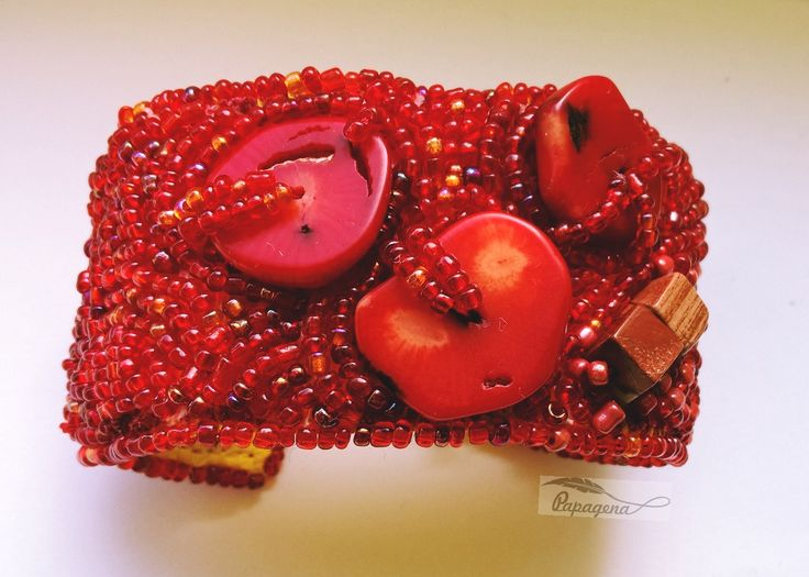 coral jasper bead embroidery bracelet
