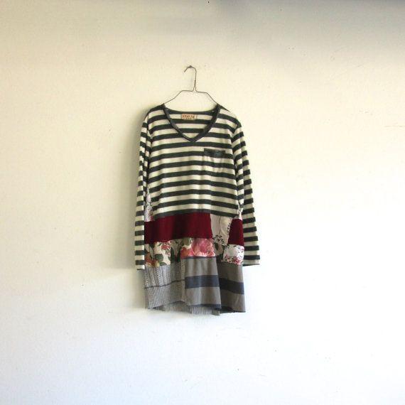 upcycled Dress stripe winter dress / romantic Upcycled clothing by CreoleSha on Etsy