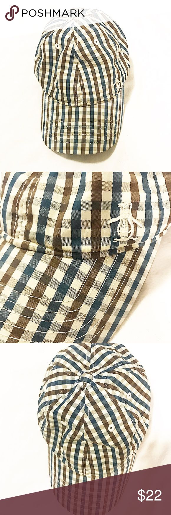 Penguin brand brown and blue plaid cap Penguin brand brown and blue plaid adjustable cap, understated penguin logo on front.  Pre-owned, worn once. Original Penguin Accessories Hats