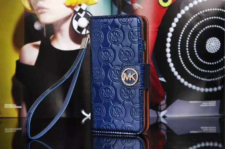 Michael Kors iPhone 7 Case Wallet MK Bling Vernis Cover Blue