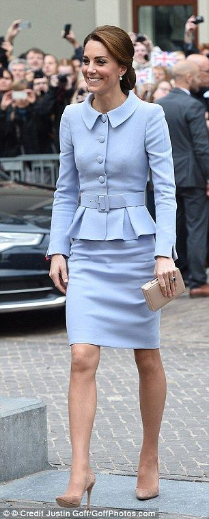 Kate wore a custom Catherine Walker pastel suit, thought to have cost £2,000, on a visit t...