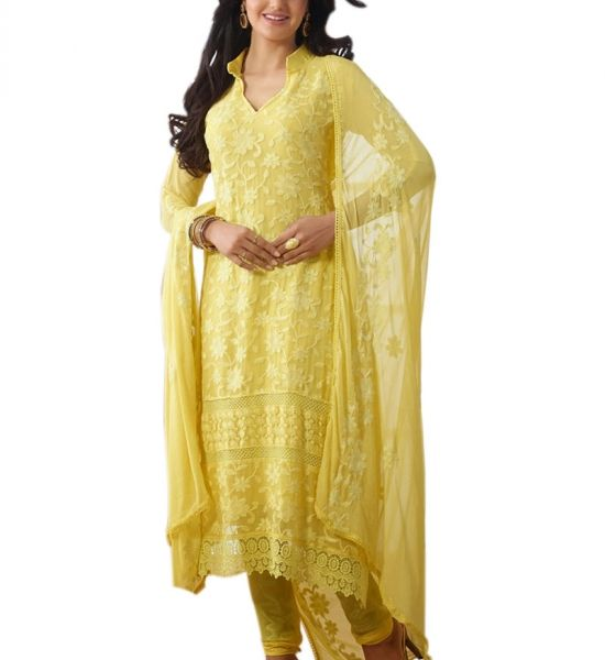 Buy Women's Charming Yellow Long Embroidered Salwar Kameez online shopping India | Salwar Suits | best price 1149