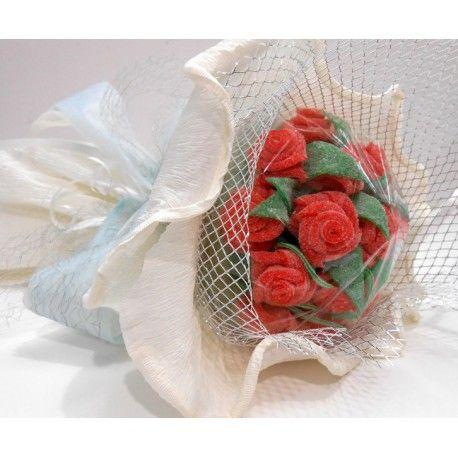 Ramo de novia blanco de congominolas.com Hecho con gominolas, lenguas de fresa y manzana imitando rosas