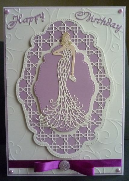 Card made using Tonic Art Deco Panel and the Lady die was a Tattered Lace freebie die