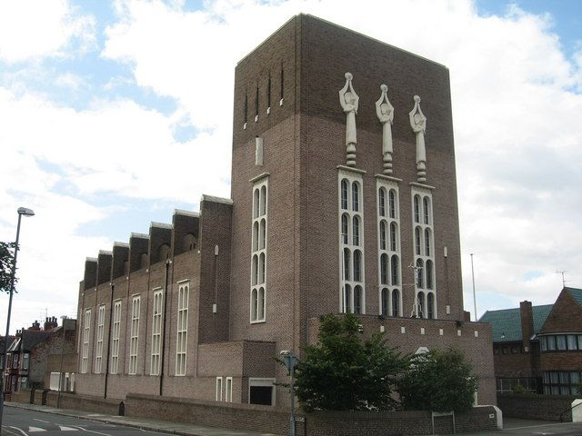 """1936: r.c. Church of St Monica, Fernhill Road, Bootle I built in 1936 by F. X. Velarde I """"Pevsner described St Monica's as 'an epoch-making church for England'. A powerful design, much influenced by the Modern Movement of continental Europe, particularly the work of Dominikus Bohm in Germany"""""""