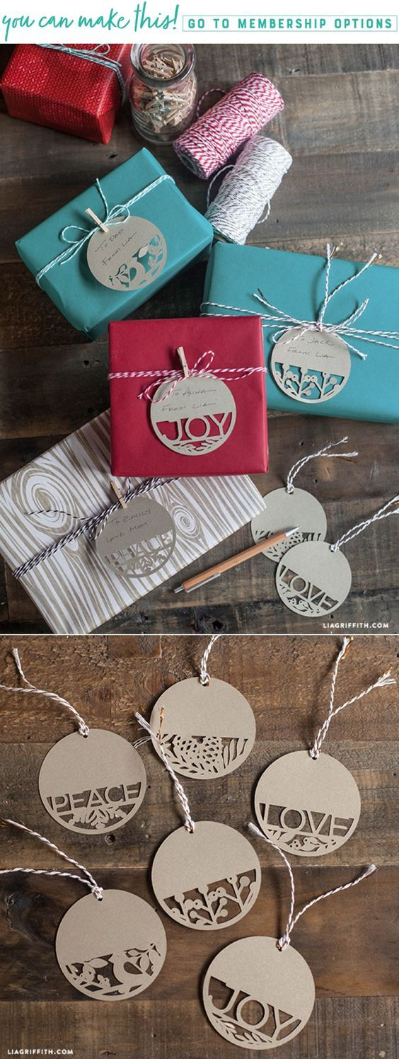 Paper Cut Holiday Gift Tags - www.LiaGriffith.com #giftwrap #Giftwrapping #holidaygiftwrapping #holidaydiy #gifttags #holidaydiy #christmasdiy