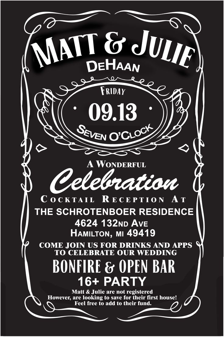 Jack Daniels wedding invites!   Custom for our wedding!