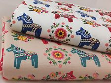 CT Dala Horse Scandinavian Upholstery Heavy Weight Fabric Japanese 100% Cotton 60 x 110cm £6.49 Cute fabric for Indi's room