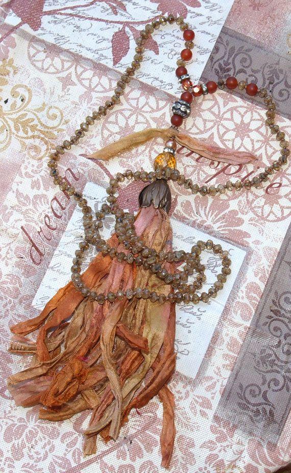 """31"""" Bohemian knotted Necklace Sari Silk Tassel czech glass beads Vintage Czech beads BOHO Necklace on Etsy, $125.00"""