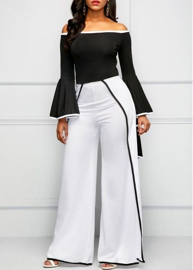 f8d2e560a4f Contrast Binding Long Sleeve Bardot Jumpsuit