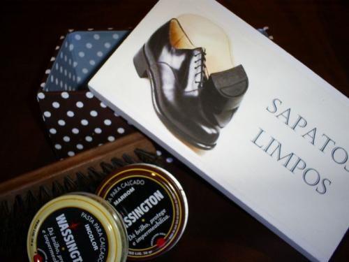 Caixa sapatos limpos Mille Choses com graxa e escova