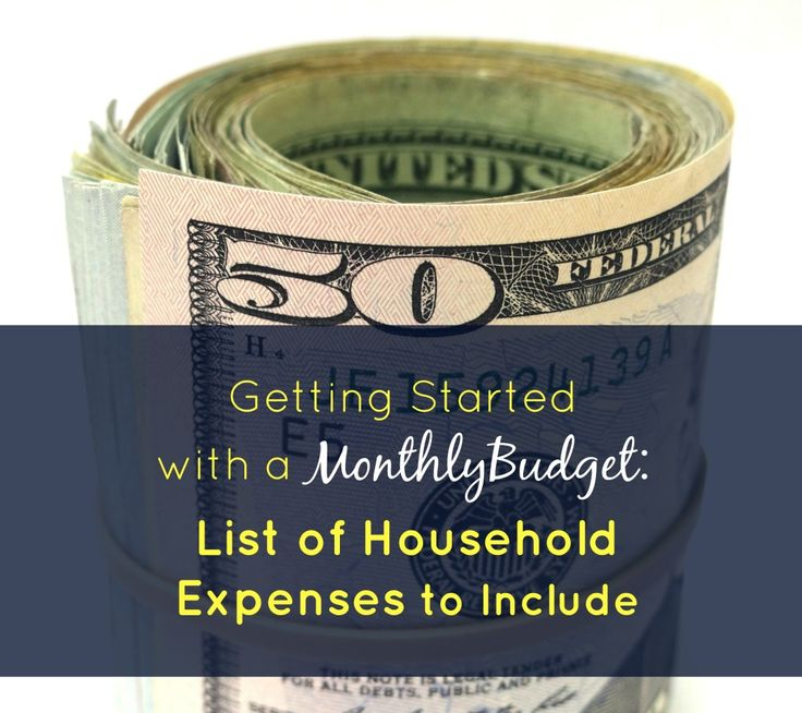 list of monthly household expenses for a budget