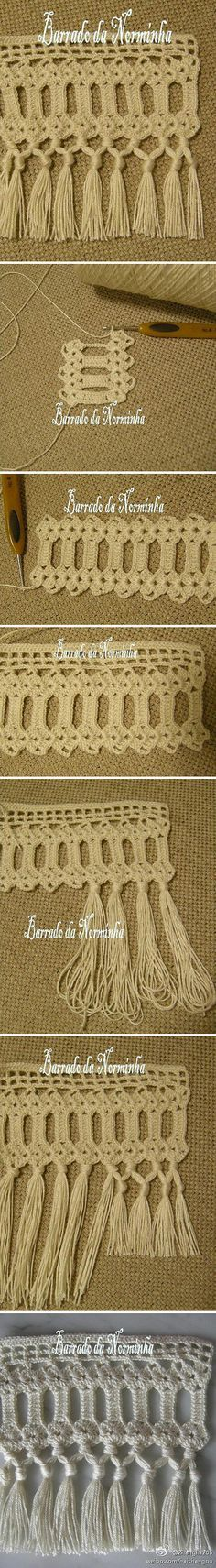 Crochet tassel edging tutorial ༺✿ƬⱤღ  https://www.pinterest.com/teretegui/✿༻