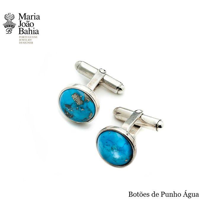 """Water"" - Cufflinks in Silver with Turquoise. A Maria João Bahia suggestion.   #MariaJoãoBahia #authorjewelry  #eleganceisanattitude'   #joiasdeautor #30anniversarymariajoaobahia #DJWE16"