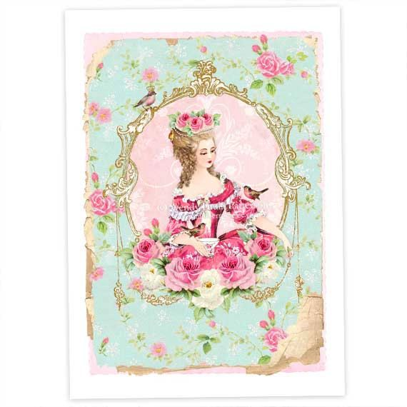 Marie Antoinette French Art Print Vintage Decor In Pink