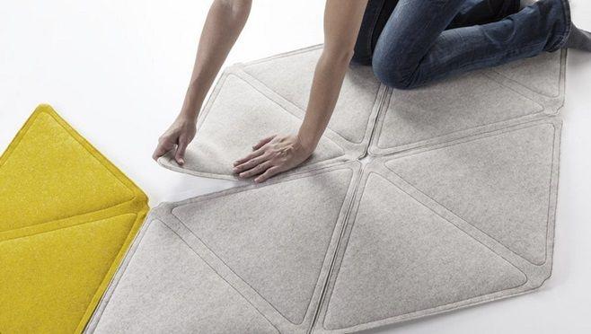 Edera – декоративная модульная система от итальянского дизайнера Loris De Grandi из Formabilio. Система состоит их ромбовидных элементов, способных крепиться друг к другу образуя нужные вам формы. Они могут принять любой вид в вашем пространстве, начиная от ковра и до изголовья кровати или дивана.