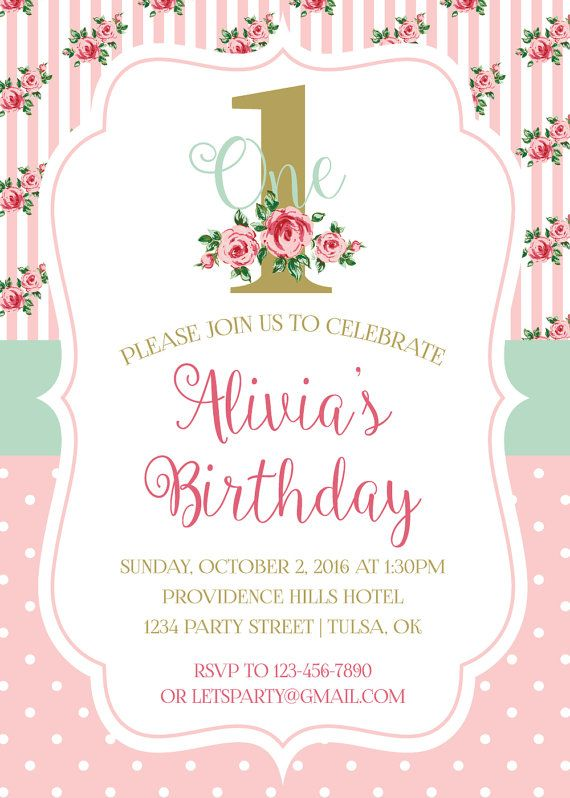 SHABBY CHIC 1ST BIRTHDAY PARTY INVITATION – This listing is for a personalized digital invitation that is print ready. Perfect for that special shabby chic first birthday, baby shower, tea party or other vintage party. If you would like different colors, please contact us for a custom order.  {WHAT'S INCLUDED} • File formats available in JPEG to be printed at photo shop (Walgreens, Wal-Mart, Shutterfly, etc.) OR • PDF to be printed at home or local print shop. • Invitation sizes available in…