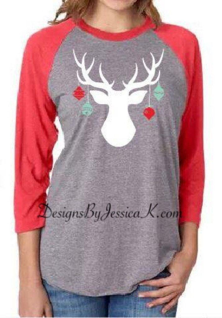 Deer Ornament Christmas Shirt Design. Unisex Baseball Raglans. Deer Holiday Ornament Women's T-shirt Design. Merry Christmas Baseball Shirt by DesignsByJessicaK on Etsy