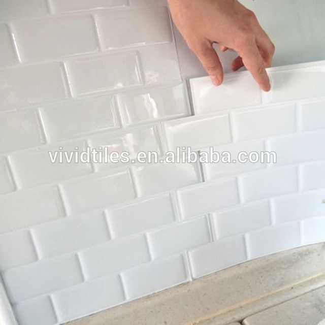 Source Self Stick Backsplash Subway White Wall Tile Sticker Stick On Removable Anti Mold Vinyl Peel An Vinyl Wall Tiles White Wall Tiles Bathroom Tile Stickers