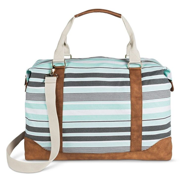 Women's Multi Striped Canvas Weekender with Removable Crossbody Strap Mint (Green) - Merona