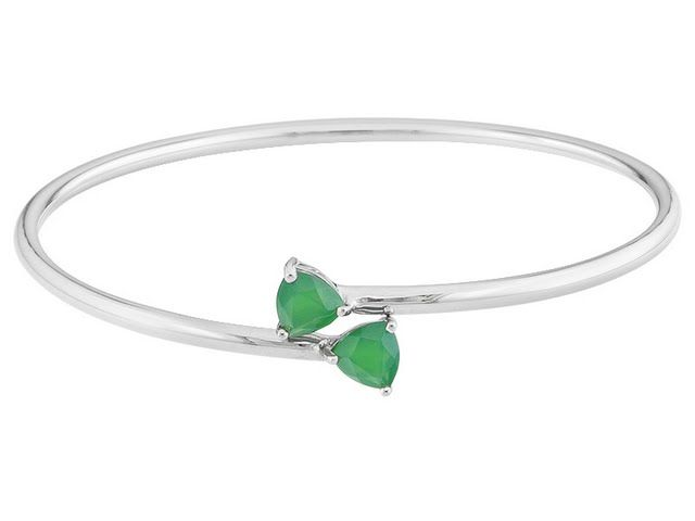 7mm Trillion Green Onyx Sterling Silver Bangle Bracelet
