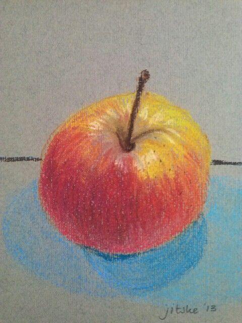 An apple a day- pastel illustration - by Jitske Jacobs