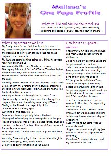 Melissa used her one-page profile to direct her transition and future support. You can read it in full here http://onepageprofiles.files.wordpress.com/2014/02/66-melissas-one-page-profile-from-cath-barton.pdf