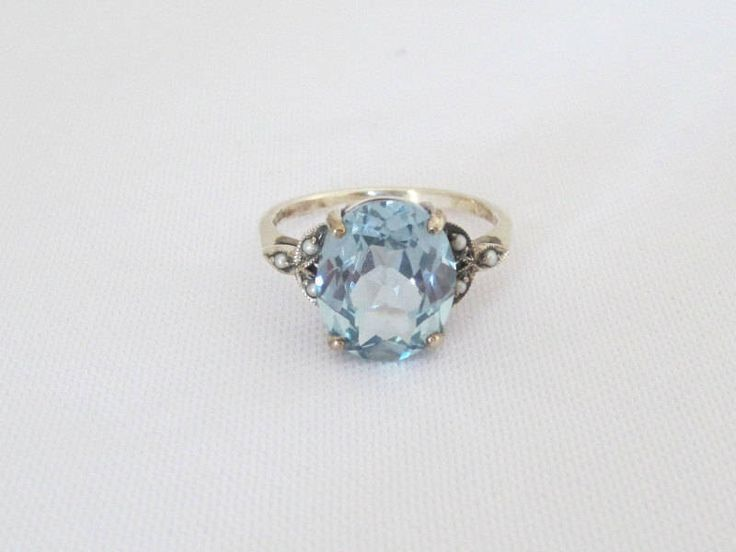 Vintage Sterling Silver Aquamarine & Seed Pearl Ring Size 6 by JewelryEmpire14 on Etsy https://www.etsy.com/listing/534230061/vintage-sterling-silver-aquamarine-seed