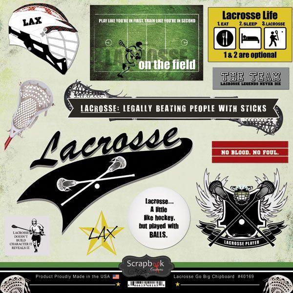 Stamping Station Lacrosse Go Big Chipboard Great For Those Lacrosse Layouts Scrapbookinglayoutshockey Lacrosse Field Hockey Stickers Lacrosse Player