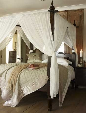 There's nothing more classic than four-poster bed; it's the centrepiece of a beautiful room. Introduce a neutral palette of soft caramel walls, pale olive green and coral accessories to contrast with the dark wood furniture for an Eastern feel. If you're drawn to this look, you'll no doubt like our romantic bedroom ideas.     Keraton four poster bed, £1395, and all accessories, from Lombok.