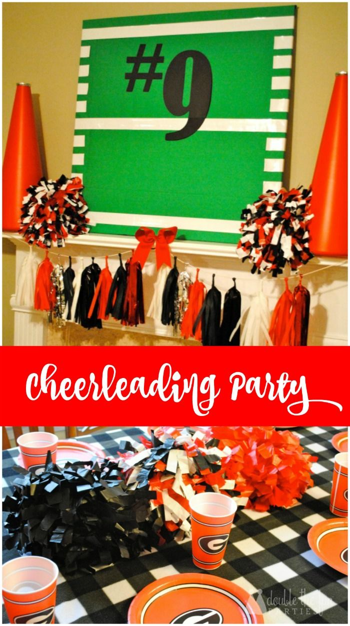 Cheerleading Party on a budget by The Party Teacher | http://thepartyteacher.com/2014/01/22/our-parties-reagans-9th-birthday-cheerleading-party/