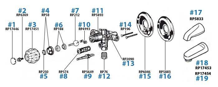 delta two handle shower faucet parts