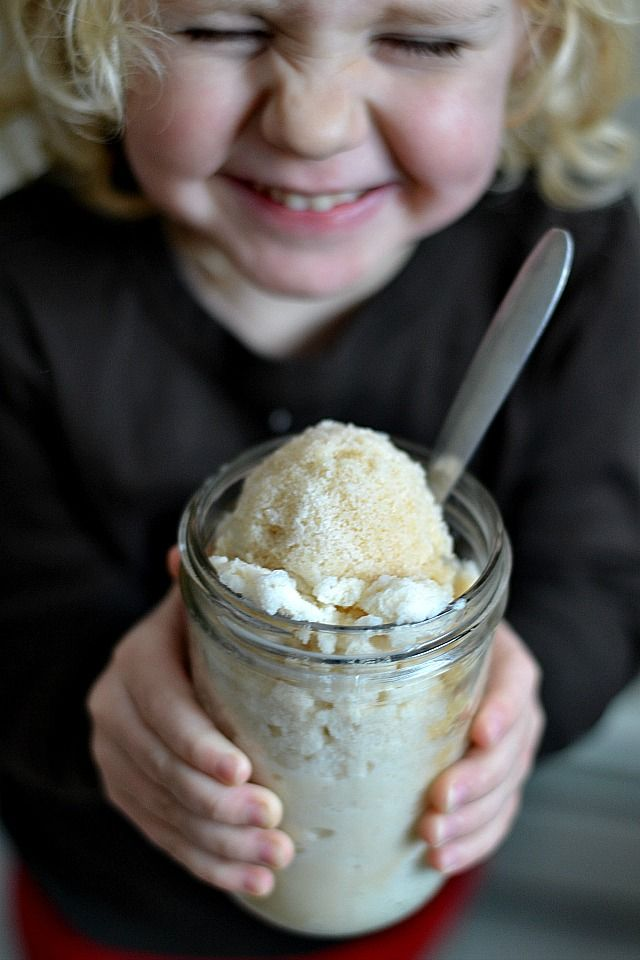 Maple Snow Cream, ice cream made in 30 seconds from scratch... and it's fun, yummy,  snow day activity for the kids (and adults!