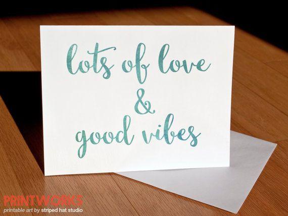 Greeting Card Lots of Love & Good Vibes by StripedHatPrintWorks