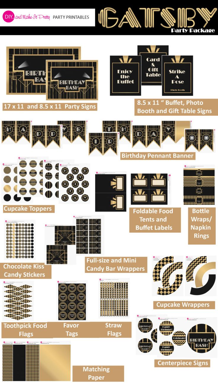 Gatsby / Art Deco Inspired Printable Birthday Party Decorations Package - BLACK and GOLD by DIYandMakeItPretty on Etsy https://www.etsy.com/listing/158823419/gatsby-art-deco-inspired-printable