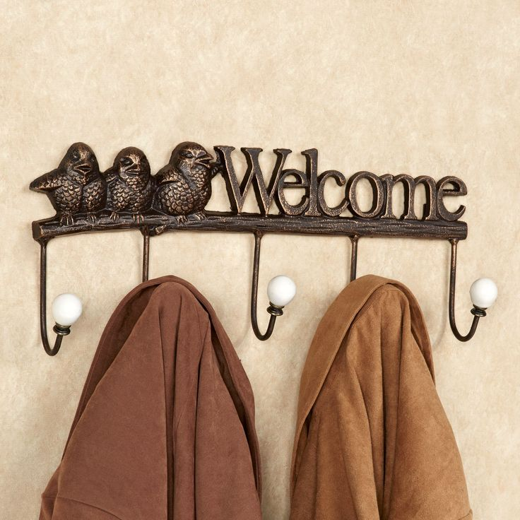 welcome birds cast iron wall hook rack