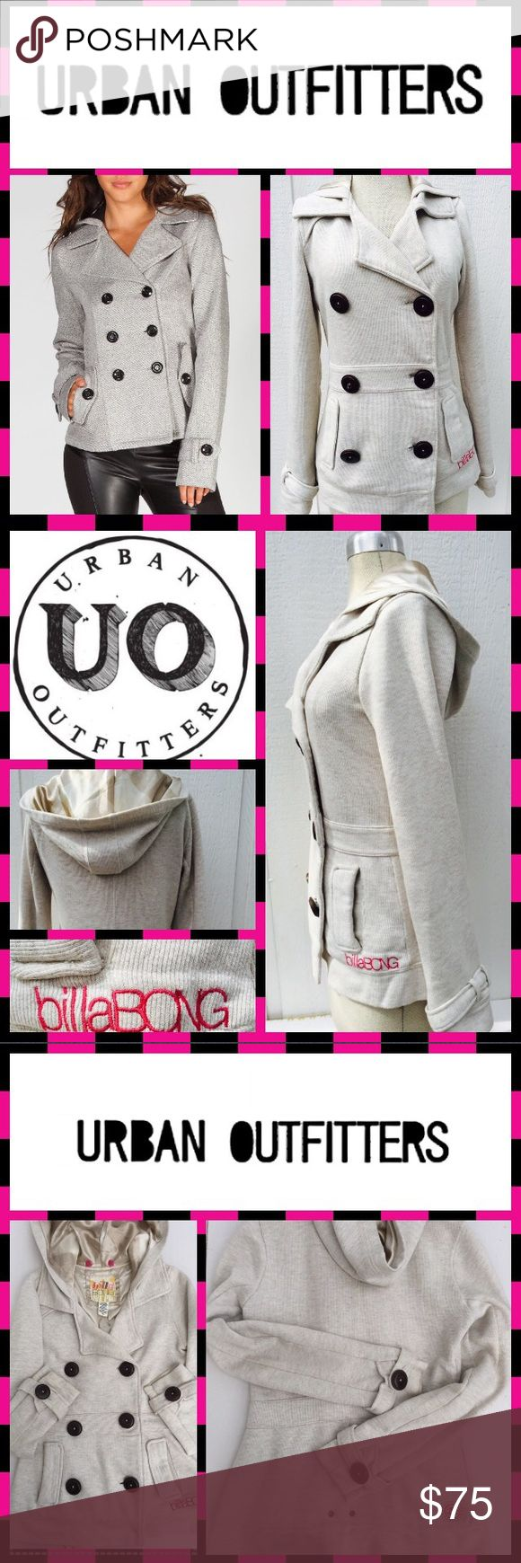 Cozy Jersey Hooded Fall Peacoat Jacket urban outfitters casual look with this comfy beige/cream jersey knit peacoat by billabong. Comes with two exterior pockets, double breasted button down style, satin like lining and hood. Button details on sleeves and nice belted feel with the fitting around the waist. Easy to clean. Nice condition. Missing the interior snap button that can easily be added from any fabric store. Otherwise in great shape! Size xs fits like a 2-4 in ladies. Perfect fall…