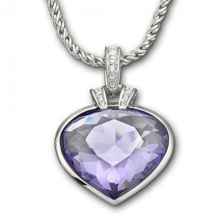 Oceanic Tanzanite Pendant - This regal looking Swarovski crystal pendant beams with brilliance and glamour. The subtle heart shape adds an air of romance to this gorgeous, timeless piece. The pendant is set on a rhodium plated chain.  #jewellery #swarovski #tanzanite #purplejewels #necklace