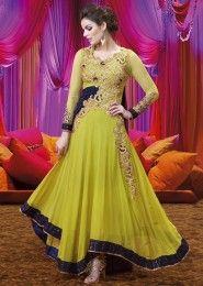 Party Wear Georgette Green Antique Work Anarkali Suit