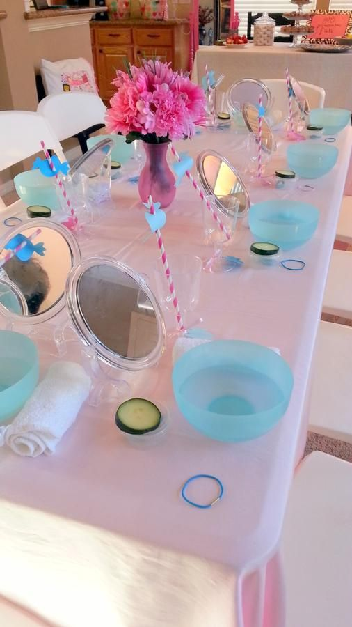 Make-up table, each girl has her own set up. Looks like so much fun for doing masks with the mirror and bowl of water to rinse.