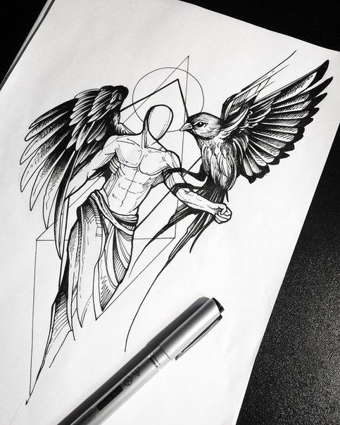 homme buste muclé aile ange oiseau noir et blanc dessin